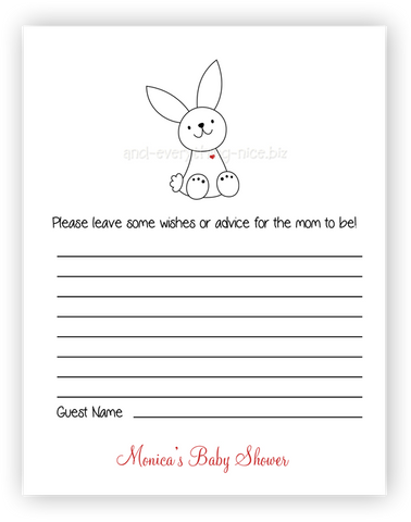 Bunny Rabbit III •  Advice or Wishes Card