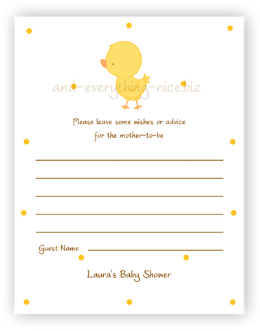 Chick Duck •  Advice or Wishes Card Advice Cards - Everything Nice