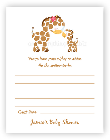 Giraffe •  Advice or Wishes Card Advice Cards - Everything Nice