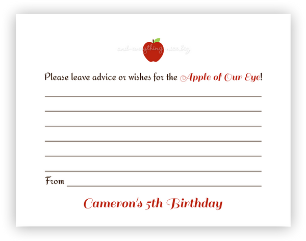 Apple •  Advice or Wishes Card