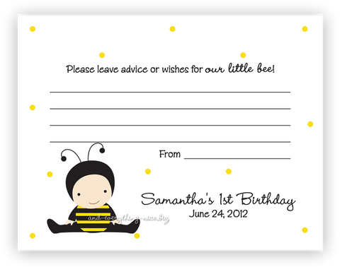 Baby Bee •  Advice or Wishes Card