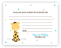 Polka Dot Giraffe •  Advice or Wishes Card
