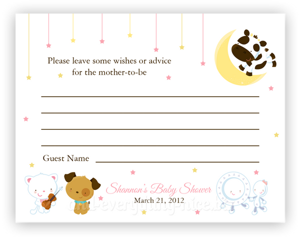 Hey Diddle Diddle Nursery Rhyme •  Advice or Wishes Card Advice Cards - Everything Nice