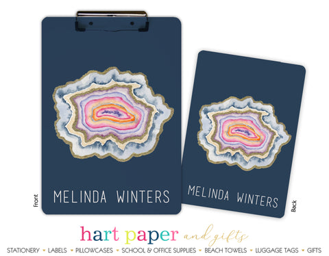 Rainbow Agate Geode Personalized Clipboard