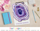 Purple Agate Geode Personalized Clipboard School & Office Supplies - Everything Nice