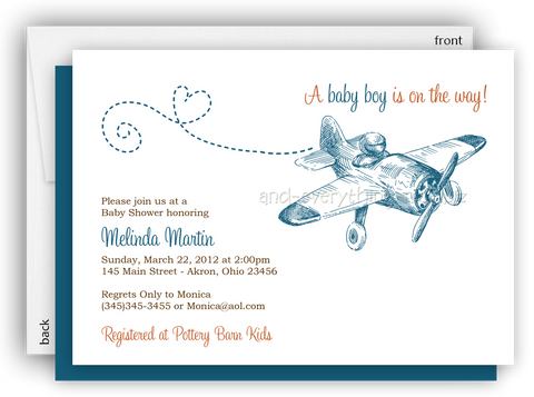 Vintage Airplane Party Invitation • Baby Shower Birthday • Any Colors