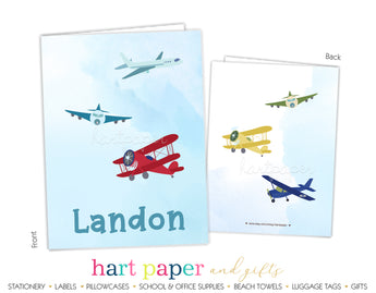 Airplane Personalized 2-Pocket Folder School & Office Supplies - Everything Nice