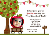 Apple Picking Photo Birthday Party Invitation • Apple of My Eye Fall Harvest Autumn • Any Colors Kids Photo Birthday Invitations - Everything Nice