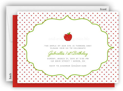 Apple Party Invitation O Baby Shower Birthday Picnic Any Colors