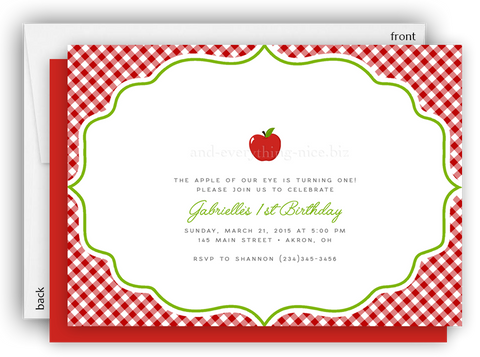 Apple Party Invitation • Baby Shower Birthday Picnic • Any Colors