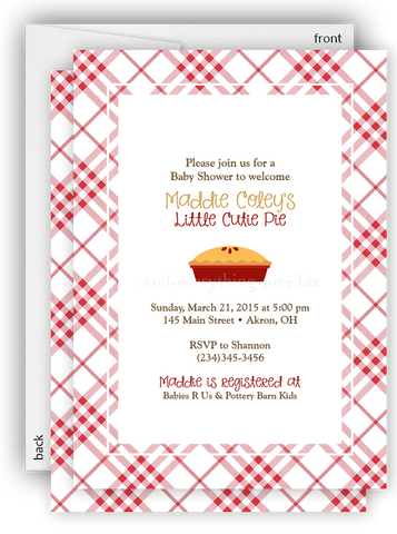 Pie Apple Cherry Party Invitation • Baby Shower Birthday Picnic • Any Colors