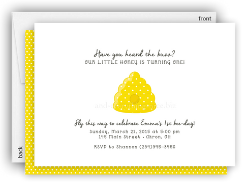 Bumble Bee Hive Party Invitation • Baby Shower Birthday • Any Colors