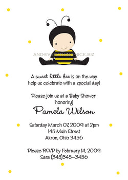 Baby Bumble Bee Baby Shower Invitation • Any Colors Baby Shower Invitations - Everything Nice