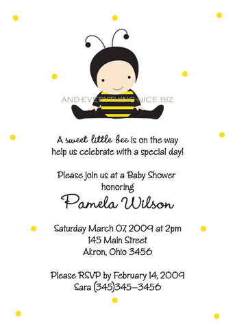 Baby Bumble Bee Party Invitation • Baby Shower Birthday • Any Colors Baby Shower Invitations - Everything Nice