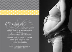 Chevron & Polka Dots Photo Baby Shower Invitation • Any Colors Baby Shower Photo Invitations - Everything Nice