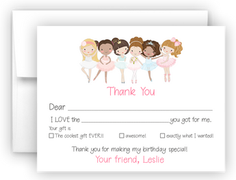 Ballerina Ballet Thank You Cards Note Card Stationery •  Fill In the Blank Stationery Thank You Cards - Everything Nice