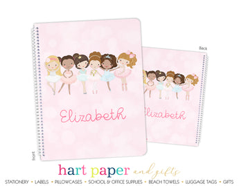 Ballerina Ballet Dance Personalized Notebook or Sketchbook School & Office Supplies - Everything Nice