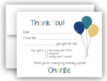 Balloons Thank You Cards Note Card Stationery •  Fill In the Blank Stationery Thank You Cards - Everything Nice