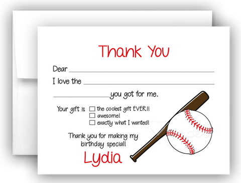 Baseball Thank You Cards Note Card Stationery •  Fill In the Blank Stationery Thank You Cards - Everything Nice