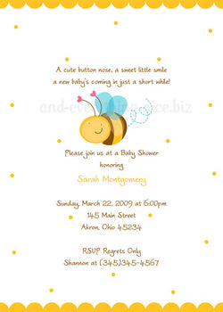 Cute Bumble Bee Party Invitation • Baby Shower Birthday • Any Colors Baby Shower Invitations - Everything Nice