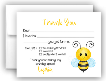 Bumble Bee Thank You Cards Note Card Stationery •  Fill In the Blank Stationery Thank You Cards - Everything Nice