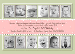 12 Months Collage Photo Birthday Party Invitation • Any Colors Kids Photo Birthday Invitations - Everything Nice