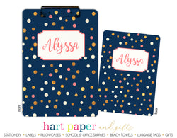 Navy Blue, Gold & Pink Polka Dot Personalized Clipboard