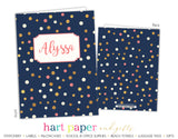 Navy Polka Dot Personalized 2-Pocket Folder School & Office Supplies - Everything Nice