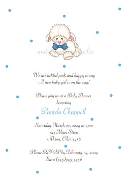 Little Lamb Sheep Baby Shower Invitation • Any Colors Baby Shower Invitations - Everything Nice