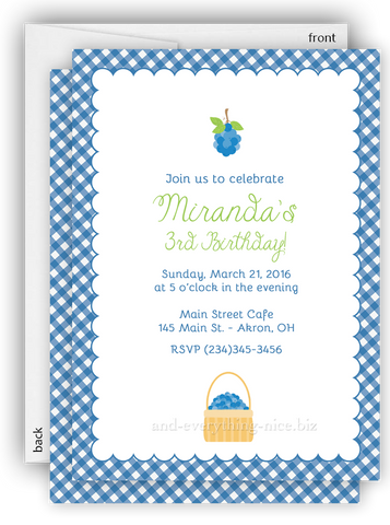 Blueberry Party Invitation • Baby Shower Birthday Picnic • Any Colors Kids Birthday Invitations - Everything Nice