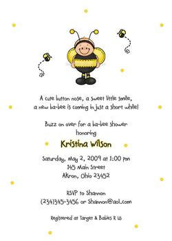 Ba-Bee Bumble Bee Party Invitation • Baby Shower Birthday • Any Colors