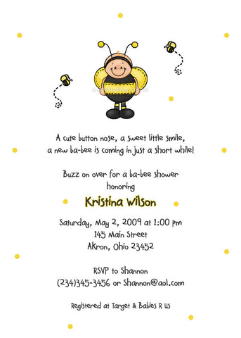 Ba-Bee Bumble Bee Party Invitation • Baby Shower Birthday • Any Colors Baby Shower Invitations - Everything Nice