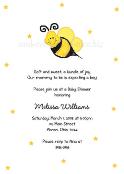 Bumble Bee III Party Invitation • Baby Shower Birthday • Any Colors Baby Shower Invitations - Everything Nice