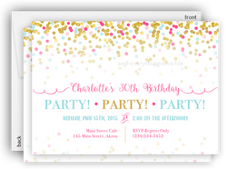 Pink & Gold Confetti Party Invitation • Baby Shower Birthday • Any Colors