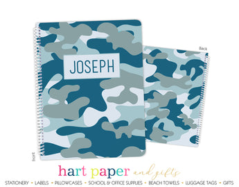 Blue Camouflage Camo Personalized Notebook or Sketchbook School & Office Supplies - Everything Nice