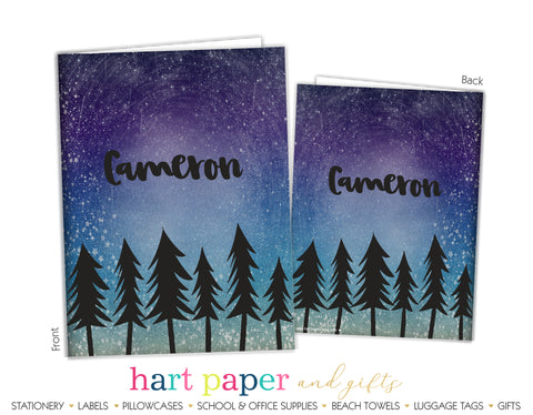 Trees Forest Galaxy Stars Sky Space Personalized 2-Pocket Folder School & Office Supplies - Everything Nice