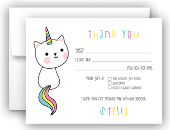 Caticorn Thank You Cards Note Card Stationery •  Fill In the Blank Stationery Thank You Cards - Everything Nice