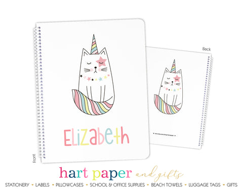 Caticorn Unicorn Cat Personalized Notebook or Sketchbook School & Office Supplies - Everything Nice
