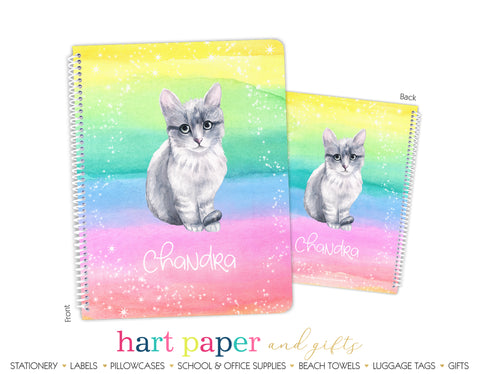 Rainbow Cat Personalized Notebook or Sketchbook School & Office Supplies - Everything Nice