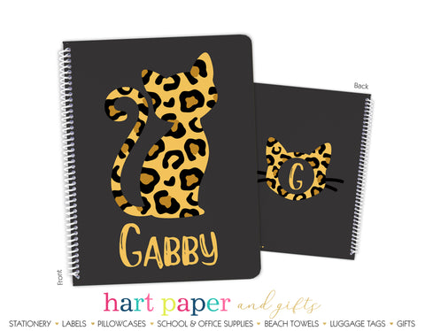Cheetah Cat Personalized Notebook or Sketchbook School & Office Supplies - Everything Nice