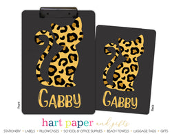 Cheetah Cat Personalized Clipboard School & Office Supplies - Everything Nice