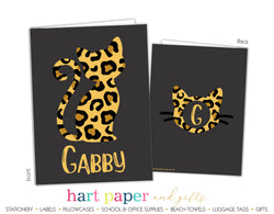 Cheetah Print Cat Personalized 2-Pocket Folder School & Office Supplies - Everything Nice