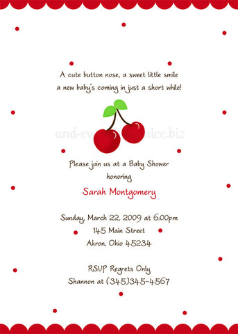 Cherry Party Invitation • Baby Shower Birthday • Any Colors Baby Shower Invitations - Everything Nice