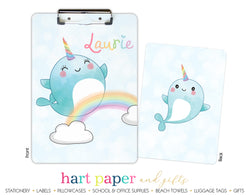 Narwhal Sea Unicorn Rainbow Personalized Clipboard School & Office Supplies - Everything Nice