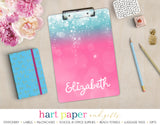 Pink Teal Sparkle Personalized Clipboard School & Office Supplies - Everything Nice