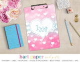 Teal Pink Hearts Personalized Clipboard School & Office Supplies - Everything Nice