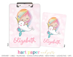 Rainbow Mermaid Narwhal Personalized Clipboard