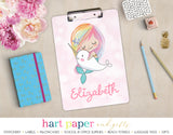 Rainbow Mermaid Narwhal Personalized Clipboard School & Office Supplies - Everything Nice