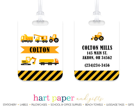 Construction Trucks Luggage Bag Tag School & Office Supplies - Everything Nice