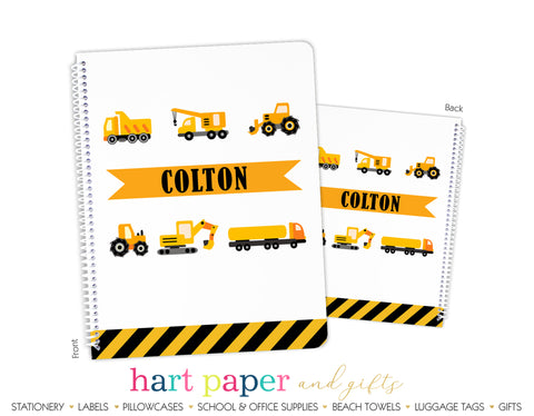 Construction Trucks Personalized Notebook or Sketchbook School & Office Supplies - Everything Nice
